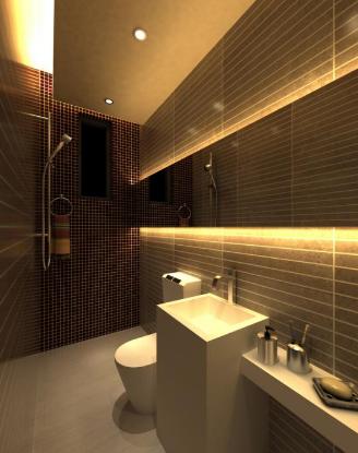 aranżacja łazienki z oświetleniem led